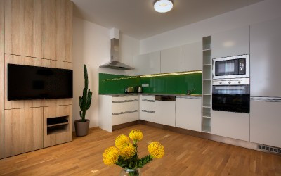 Green and White Kitchen Corner