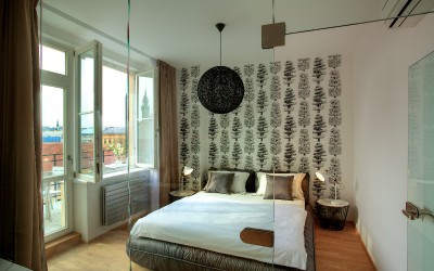 Bedroom with Design Wallpaper, Balcony