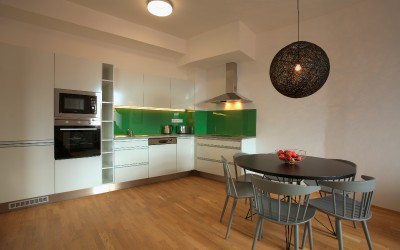 Green and White Kitchen, Dining Table