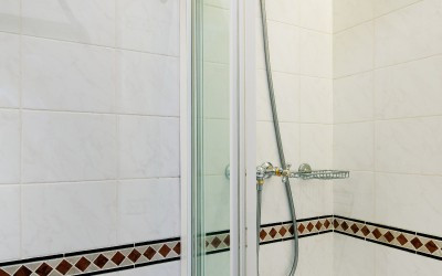 White Tile Bathroom with Shower