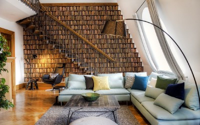 Living Room with Book Wallpaper