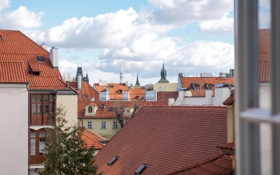Charming Red Rooftops, Tower Spires