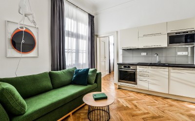 Equipped Kitchen & Sofa