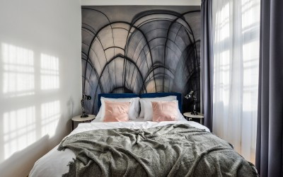 Bed with Linens, Interesting Wallpaper