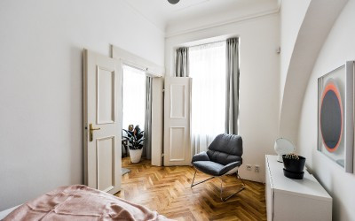Bedroom with Parquet Flooring