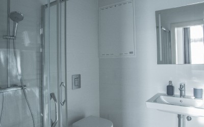 First Bathroom, with Shower & Toilet