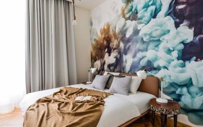 Bedroom with Interesting Wallpaper