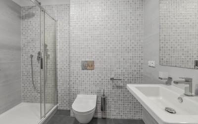 Bathroom with Tile, Shower, Toilet, Sink