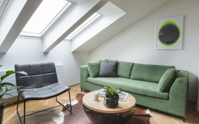 Sitting Area with Green Sofa
