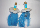 Sibel | Blue Feather Earrings