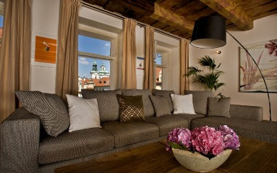 Sofa and Fresh Flowers